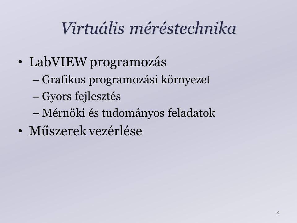 Virtuális méréstechnika LabVIEW programozás – Grafikus programozási környezet – Gyors fejlesztés – Mérnöki és tudományos feladatok Műszerek vezérlése 8