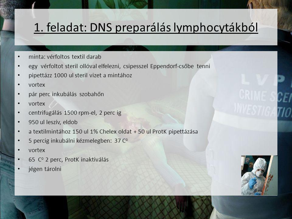 1. feladat: DNS preparálás lymphocytákból minta: vérfoltos textil darab egy vérfoltot steril ollóval elfelezni, csipesszel Eppendorf-csőbe tenni pipet
