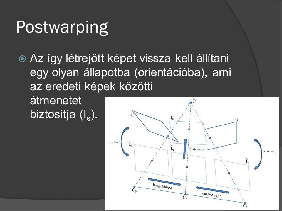 Postwarping  Az így létrejött képet vissza kell állítani egy olyan állapotba (orientációba), ami az eredeti képek közötti átmenetet biztosítja (I s )