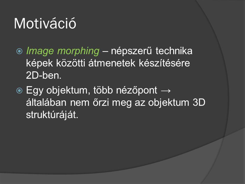 Motiváció  Image morphing – népszerű technika képek közötti átmenetek készítésére 2D-ben.  Egy objektum, több nézőpont → általában nem őrzi meg az o