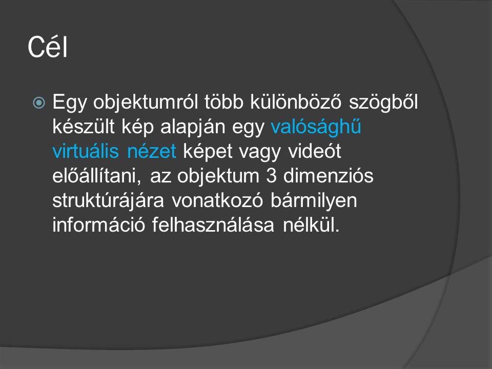 Cél  Egy objektumról több különböző szögből készült kép alapján egy valósághű virtuális nézet képet vagy videót előállítani, az objektum 3 dimenziós