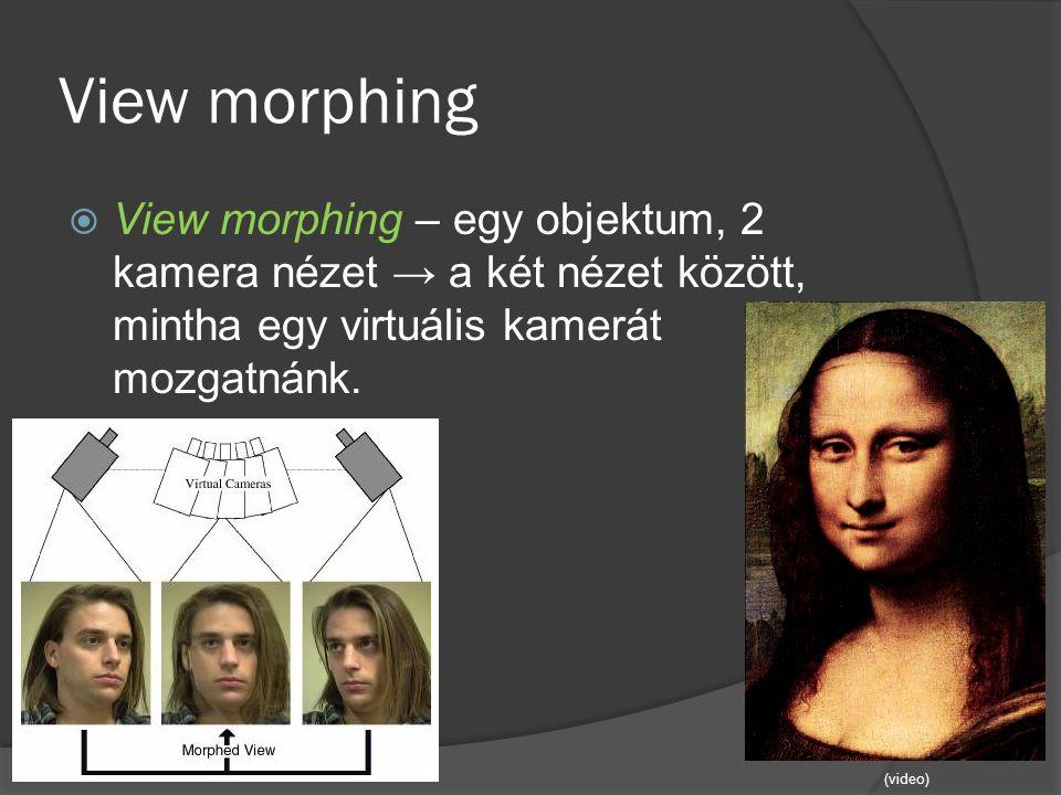 View morphing  View morphing – egy objektum, 2 kamera nézet → a két nézet között, mintha egy virtuális kamerát mozgatnánk. (video)