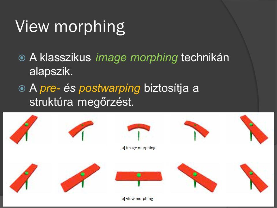 View morphing  A klasszikus image morphing technikán alapszik.  A pre- és postwarping biztosítja a struktúra megőrzést.
