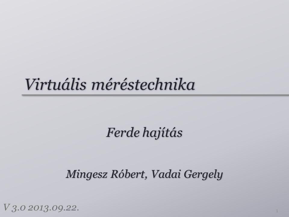 Virtuális méréstechnika Ferde hajítás 1 Mingesz Róbert, Vadai Gergely V 3.0 2013.09.22.