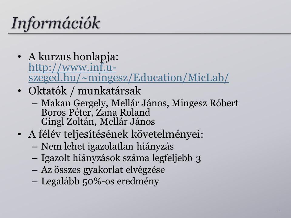 Információk A kurzus honlapja: http://www.inf.u- szeged.hu/~mingesz/Education/MicLab/ http://www.inf.u- szeged.hu/~mingesz/Education/MicLab/ Oktatók /