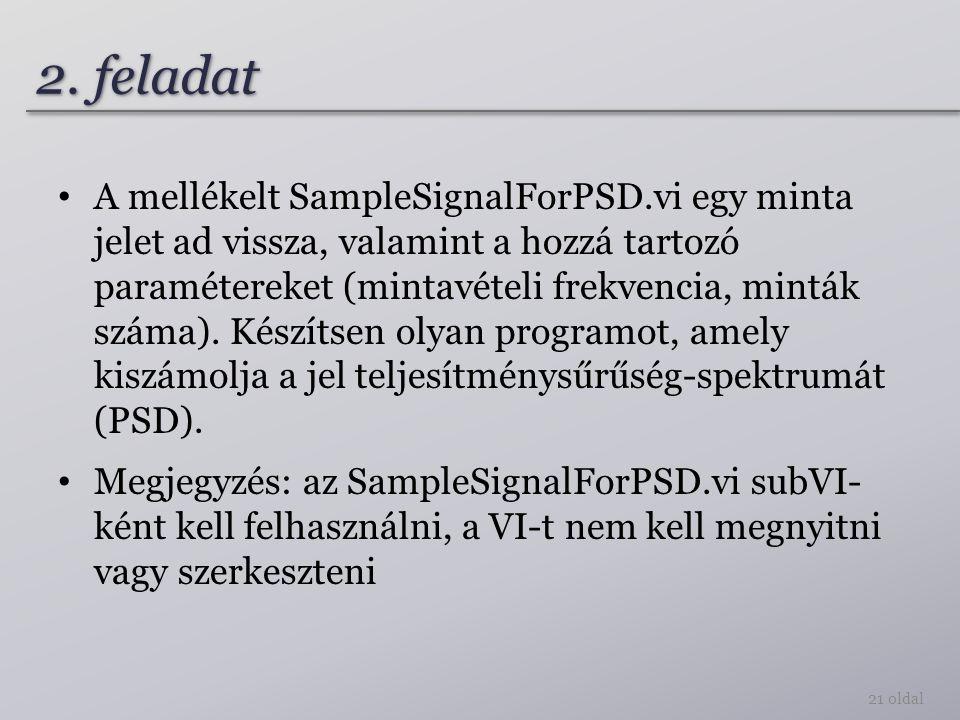 2. feladat A mellékelt SampleSignalForPSD.vi egy minta jelet ad vissza, valamint a hozzá tartozó paramétereket (mintavételi frekvencia, minták száma).