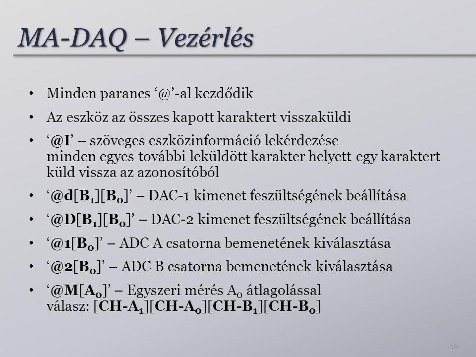MA-DAQ – Vezérlés Minden parancs '@'-al kezdődik Az eszköz az összes kapott karaktert visszaküldi '@I' – szöveges eszközinformáció lekérdezése minden