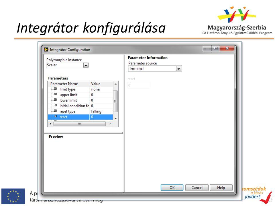 Integrátor konfigurálása 13