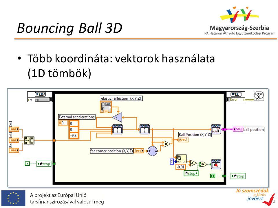 Bouncing Ball 3D Több koordináta: vektorok használata (1D tömbök) 14