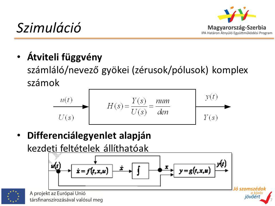 Szimuláció Átviteli függvény számláló/nevező gyökei (zérusok/pólusok) komplex számok Differenciálegyenlet alapján kezdeti feltételek állíthatóak 7