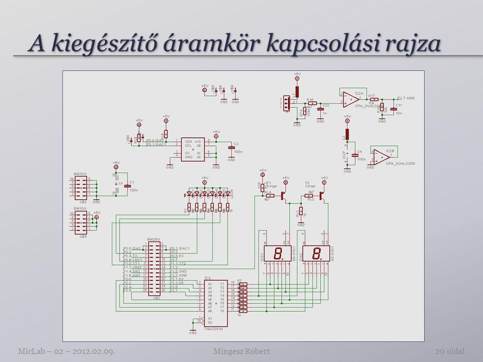 A kiegészítő áramkör kapcsolási rajza Mingesz RóbertMicLab – 02 – 2012.02.09.20 oldal
