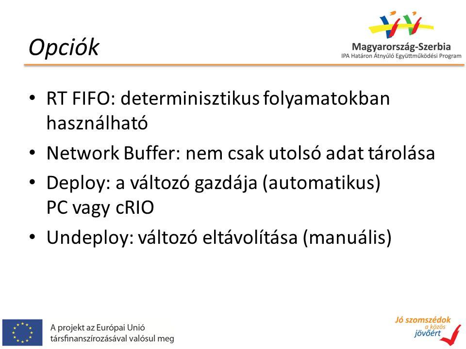 Opciók RT FIFO: determinisztikus folyamatokban használható Network Buffer: nem csak utolsó adat tárolása Deploy: a változó gazdája (automatikus) PC vagy cRIO Undeploy: változó eltávolítása (manuális)