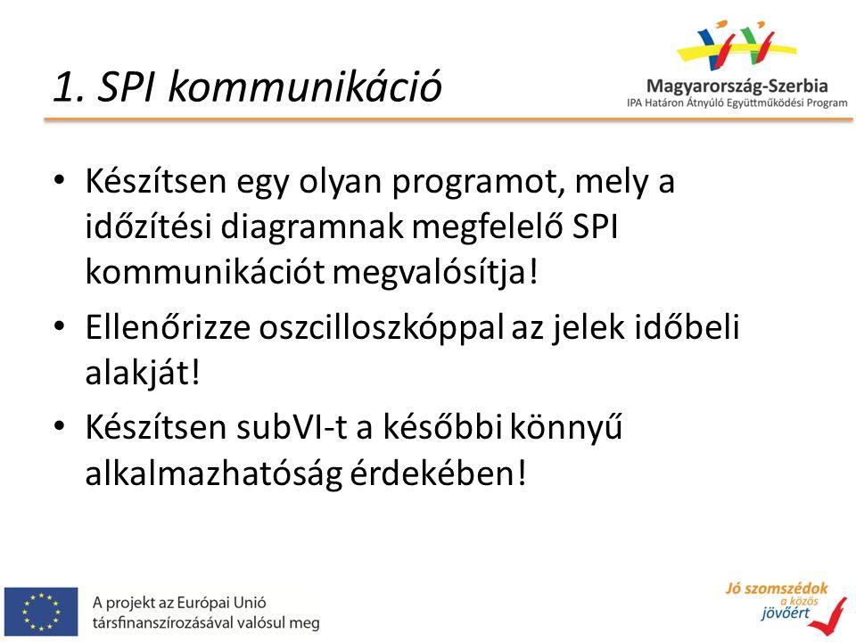 1. SPI kommunikáció Készítsen egy olyan programot, mely a időzítési diagramnak megfelelő SPI kommunikációt megvalósítja! Ellenőrizze oszcilloszkóppal
