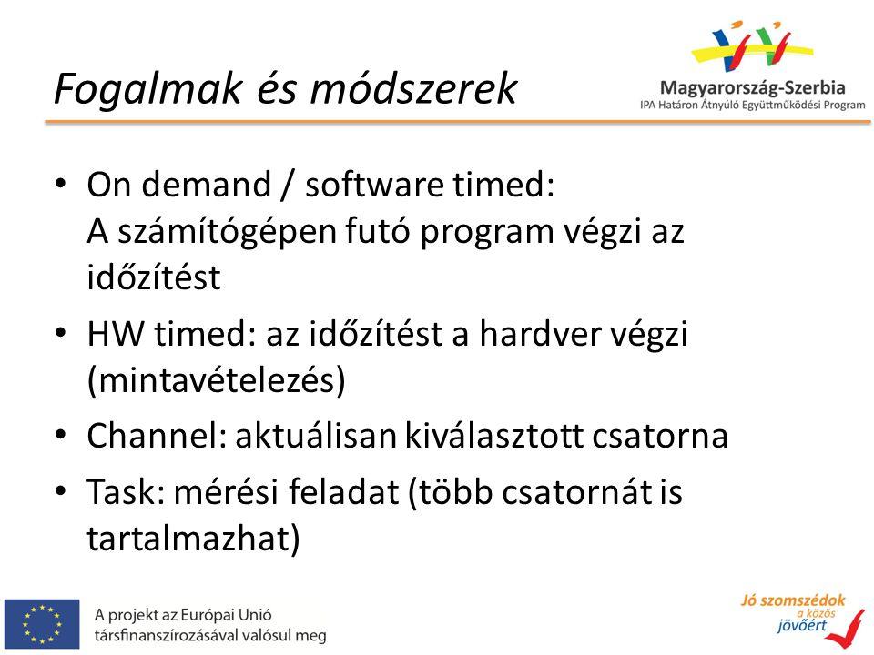 Fogalmak és módszerek On demand / software timed: A számítógépen futó program végzi az időzítést HW timed: az időzítést a hardver végzi (mintavételezé