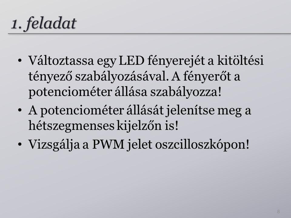 1.feladat Változtassa egy LED fényerejét a kitöltési tényező szabályozásával.