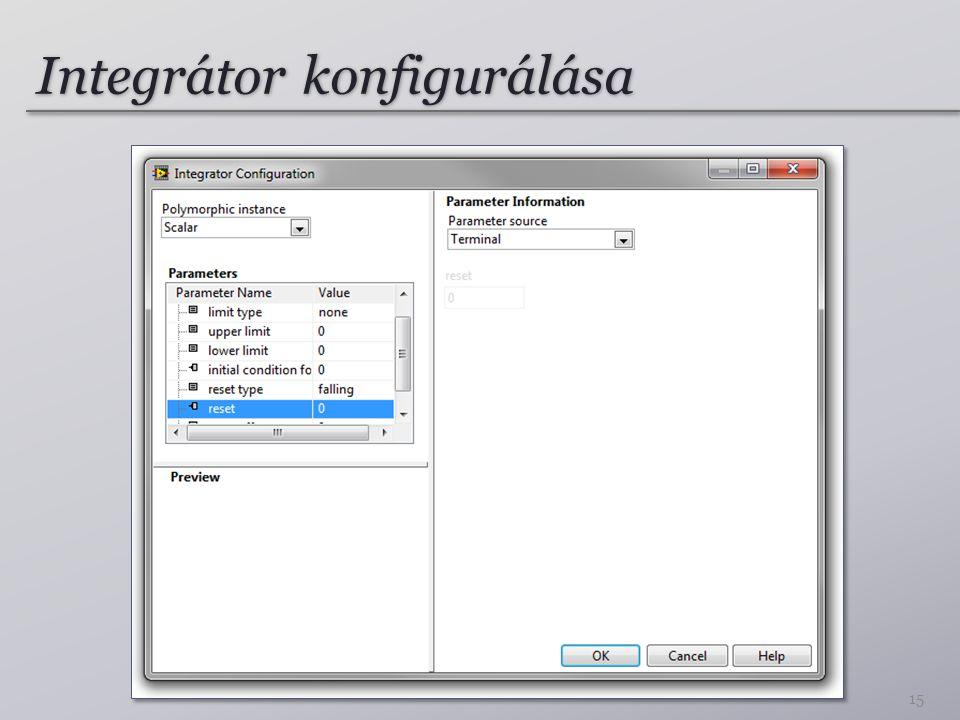 Integrátor konfigurálása 15