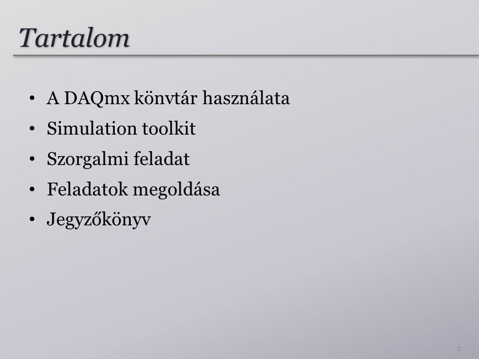 Tartalom A DAQmx könvtár használata Simulation toolkit Szorgalmi feladat Feladatok megoldása Jegyzőkönyv 2