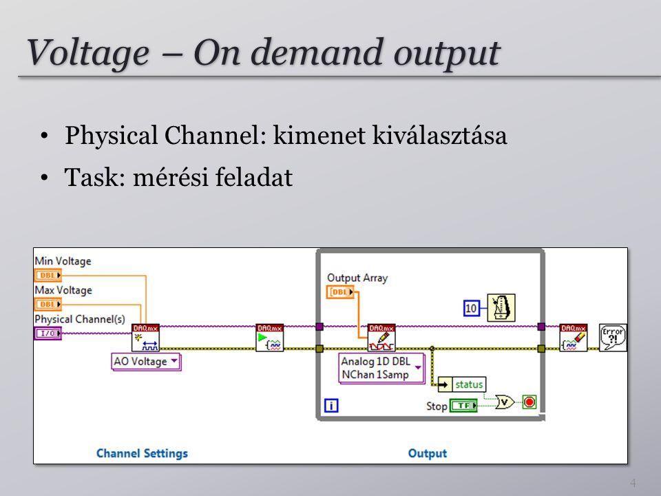 Voltage – On demand output Physical Channel: kimenet kiválasztása Task: mérési feladat 4