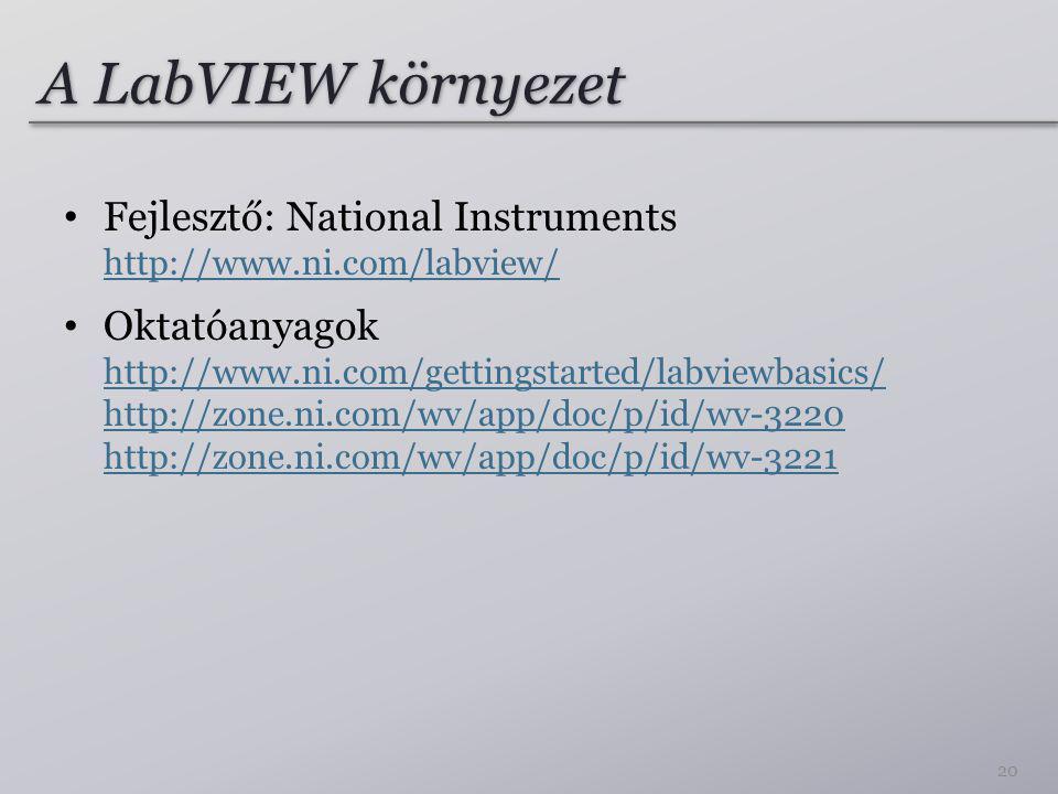 A LabVIEW környezet Fejlesztő: National Instruments http://www.ni.com/labview/ http://www.ni.com/labview/ Oktatóanyagok http://www.ni.com/gettingstarted/labviewbasics/ http://zone.ni.com/wv/app/doc/p/id/wv-3220 http://zone.ni.com/wv/app/doc/p/id/wv-3221 http://www.ni.com/gettingstarted/labviewbasics/ http://zone.ni.com/wv/app/doc/p/id/wv-3220 http://zone.ni.com/wv/app/doc/p/id/wv-3221 20