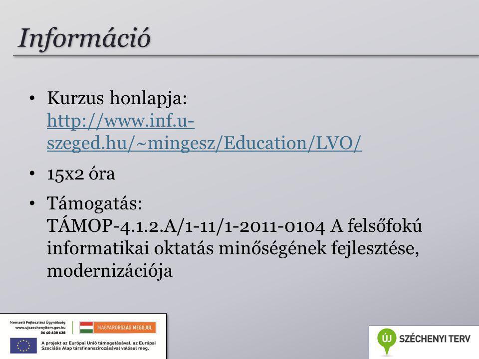Kurzus honlapja: http://www.inf.u- szeged.hu/~mingesz/Education/LVO/ http://www.inf.u- szeged.hu/~mingesz/Education/LVO/ 15x2 óra Támogatás: TÁMOP-4.1.2.A/1-11/1-2011-0104 A felsőfokú informatikai oktatás minőségének fejlesztése, modernizációja 4