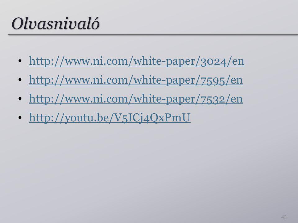 Olvasnivaló http://www.ni.com/white-paper/3024/en http://www.ni.com/white-paper/7595/en http://www.ni.com/white-paper/7532/en http://youtu.be/V5ICj4QxPmU 43