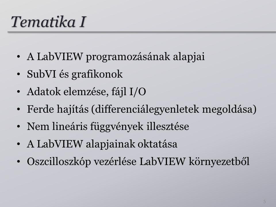 Tematika I A LabVIEW programozásának alapjai SubVI és grafikonok Adatok elemzése, fájl I/O Ferde hajítás (differenciálegyenletek megoldása) Nem lineáris függvények illesztése A LabVIEW alapjainak oktatása Oszcilloszkóp vezérlése LabVIEW környezetből 5