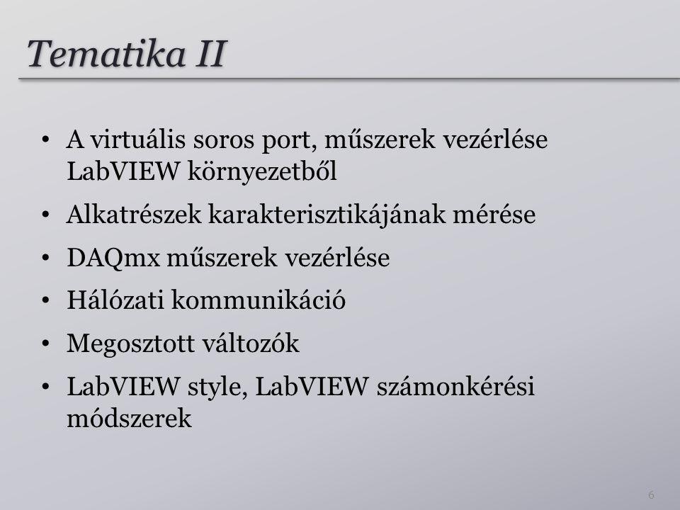 Tematika II A virtuális soros port, műszerek vezérlése LabVIEW környezetből Alkatrészek karakterisztikájának mérése DAQmx műszerek vezérlése Hálózati