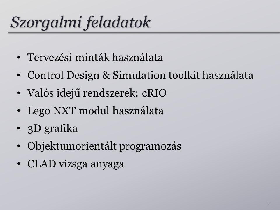 Szorgalmi feladatok Tervezési minták használata Control Design & Simulation toolkit használata Valós idejű rendszerek: cRIO Lego NXT modul használata 3D grafika Objektumorientált programozás CLAD vizsga anyaga 7