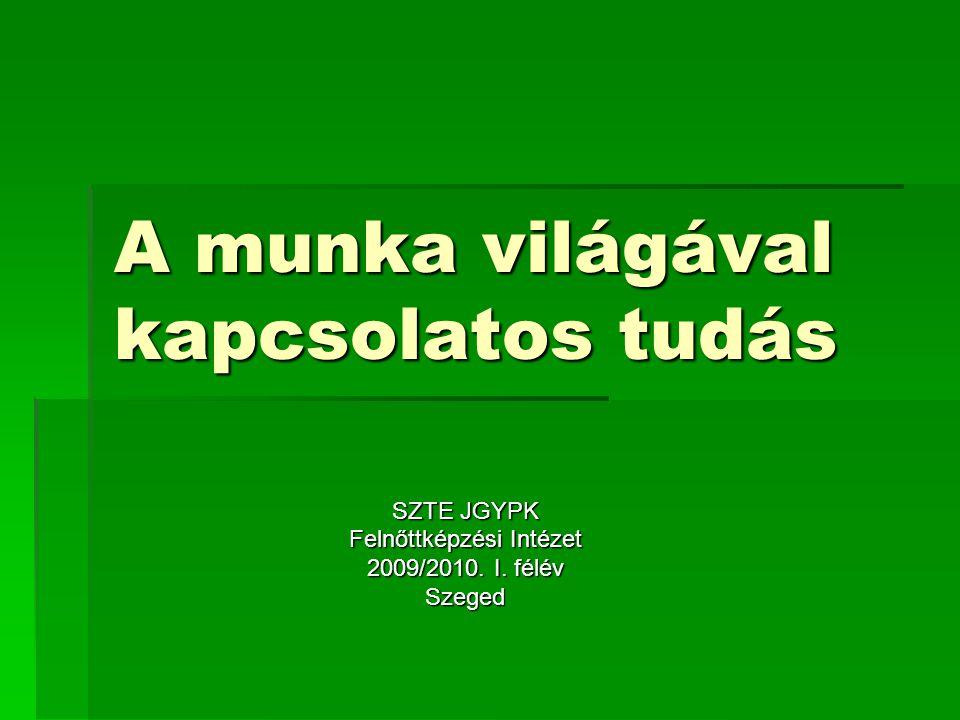 A munka világával kapcsolatos tudás SZTE JGYPK Felnőttképzési Intézet 2009/2010. I. félév Szeged