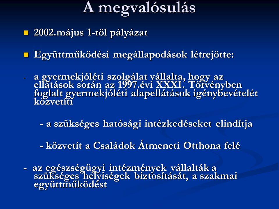 A megvalósulás 2002.május 1-töl pályázat 2002.május 1-töl pályázat Együttműködési megállapodások létrejötte: Együttműködési megállapodások létrejötte: - a gyermekjóléti szolgálat vállalta, hogy az ellátások során az 1997.évi XXXI.