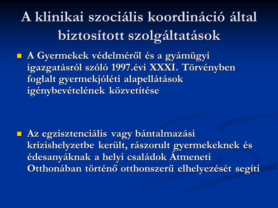A klinikai szociális koordináció által biztosított szolgáltatások A Gyermekek védelméről és a gyámügyi igazgatásról szóló 1997.évi XXXI. Törvényben fo