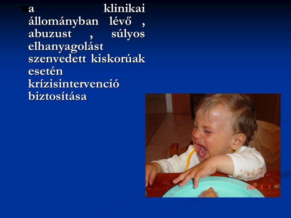 a klinikai állományban lévő, abuzust, súlyos elhanyagolást szenvedett kiskorúak esetén krízisintervenció biztosítása a klinikai állományban lévő, abuz