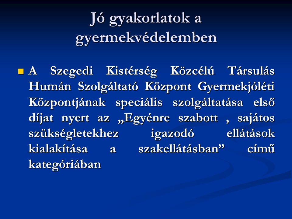 Jó gyakorlatok a gyermekvédelemben A Szegedi Kistérség Közcélú Társulás Humán Szolgáltató Központ Gyermekjóléti Központjának speciális szolgáltatása e