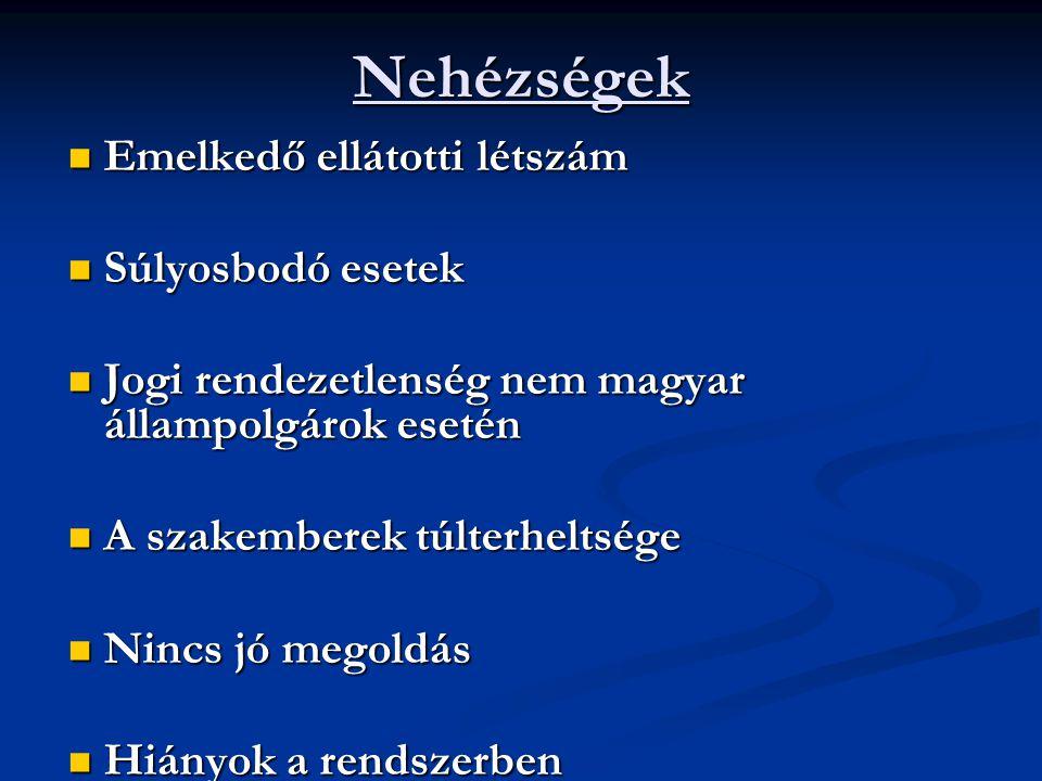 Nehézségek Emelkedő ellátotti létszám Emelkedő ellátotti létszám Súlyosbodó esetek Súlyosbodó esetek Jogi rendezetlenség nem magyar állampolgárok eset