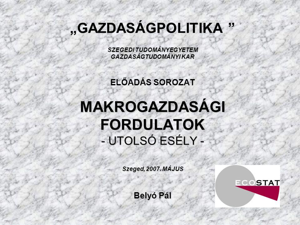 SZEGEDI TUDOMÁNYEGYETEM GAZDASÁGTUDOMÁNYI KAR MAKROGAZDASÁGI FORDULATOK - UTOLSÓ ESÉLY - Szeged, 2007.