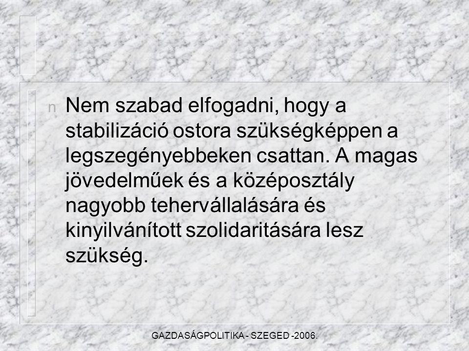 GAZDASÁGPOLITIKA - SZEGED -2006.