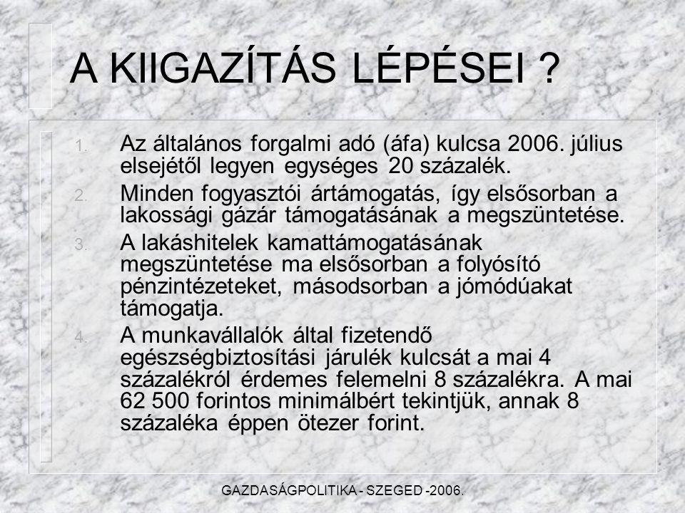 GAZDASÁGPOLITIKA - SZEGED -2006. Pótköltségvetés 2006.