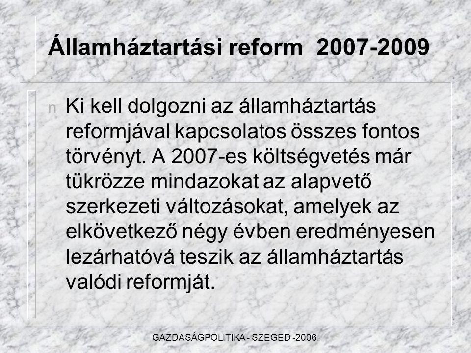 GAZDASÁGPOLITIKA - SZEGED -2006.... kiigazítási lépések..