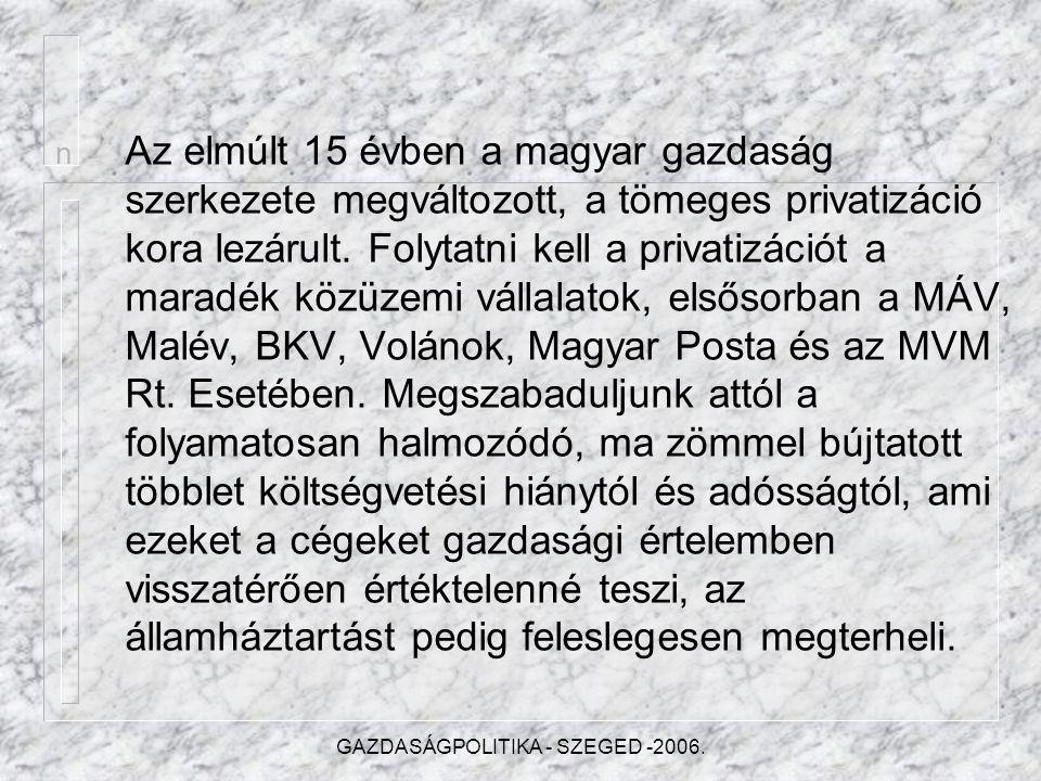 GAZDASÁGPOLITIKA - SZEGED -2006. Módosítandók a pártokról szóló törvények, jogszabályok.