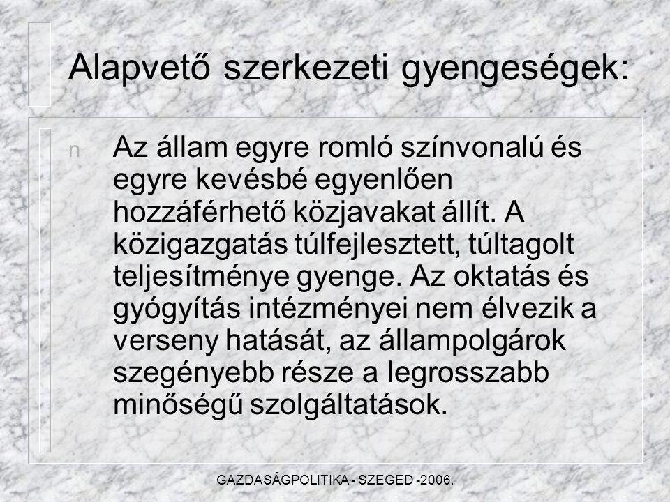 GAZDASÁGPOLITIKA - SZEGED -2006.Pótköltségvetés 2006.