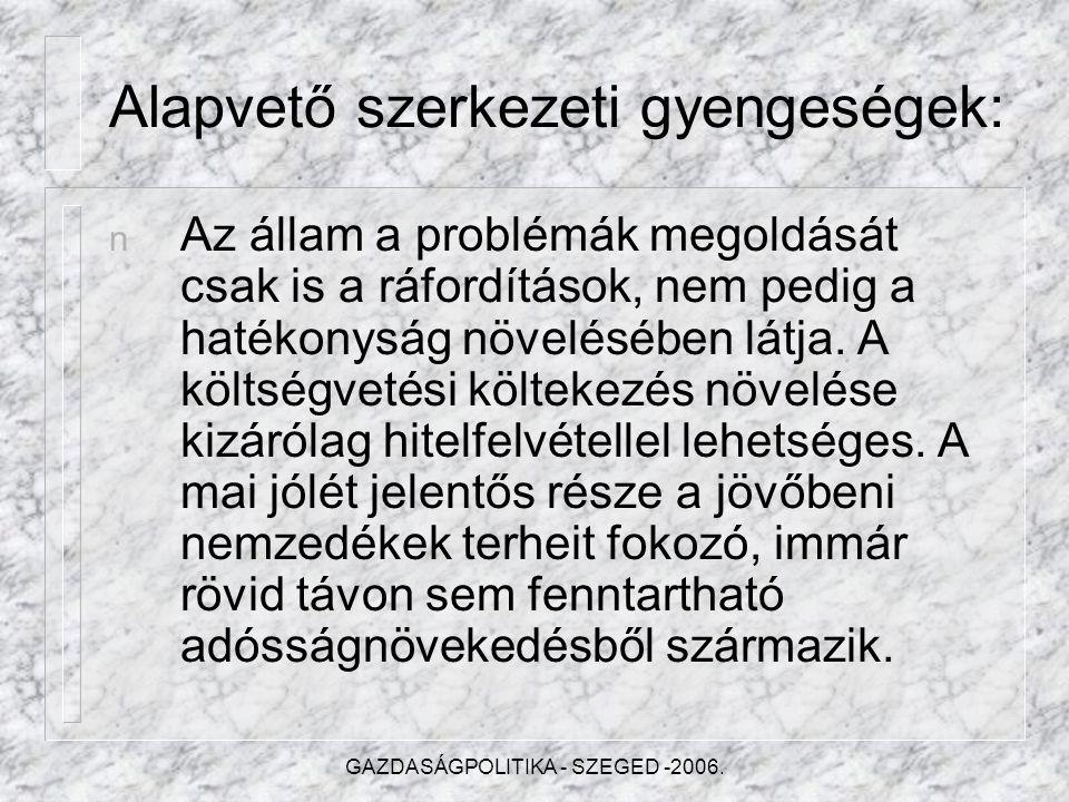 GAZDASÁGPOLITIKA - SZEGED -2006.A KIIGAZÍTÁS LÉPÉSEI .