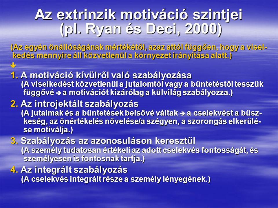 Az extrinzik motiváció szintjei (pl.