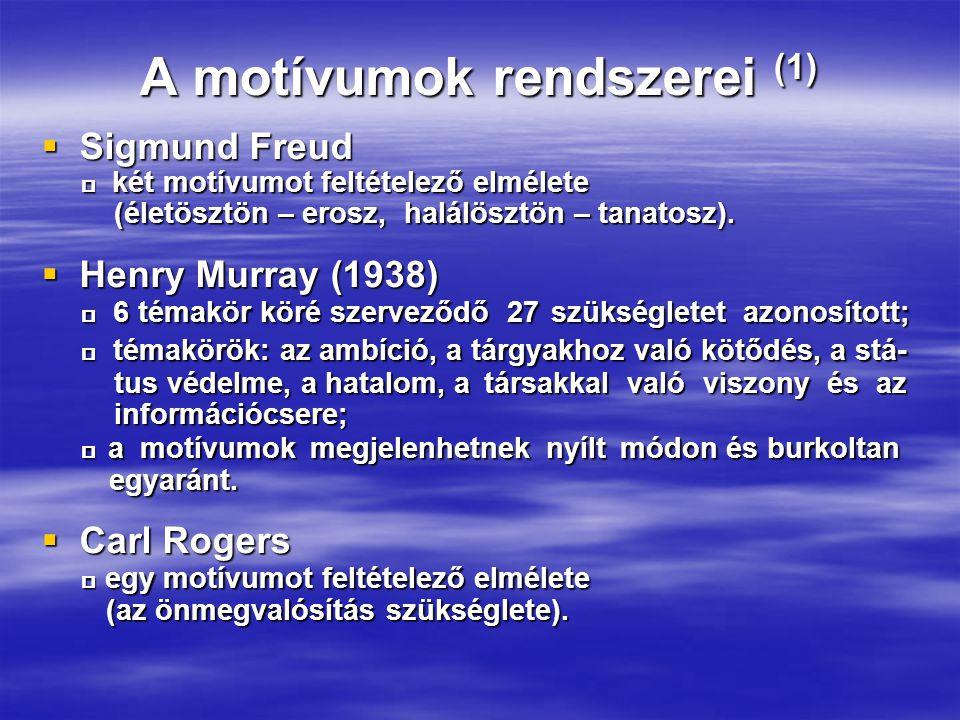 A motívumok rendszerei (1)  Sigmund Freud  két motívumot feltételező elmélete  két motívumot feltételező elmélete (életösztön – erosz, halálösztön – tanatosz).