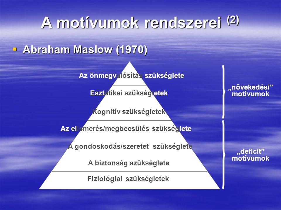 """A motívumok rendszerei (2)  Abraham Maslow (1970) Fiziológiai szükségletek A biztonság szükséglete A gondoskodás/szeretet szükséglete Az elismerés/megbecsülés szükséglete Az önmegvalósítás szükséglete Kognitív szükségletek Esztétikai szükségletek """"növekedési motívumok """"deficit motívumok"""