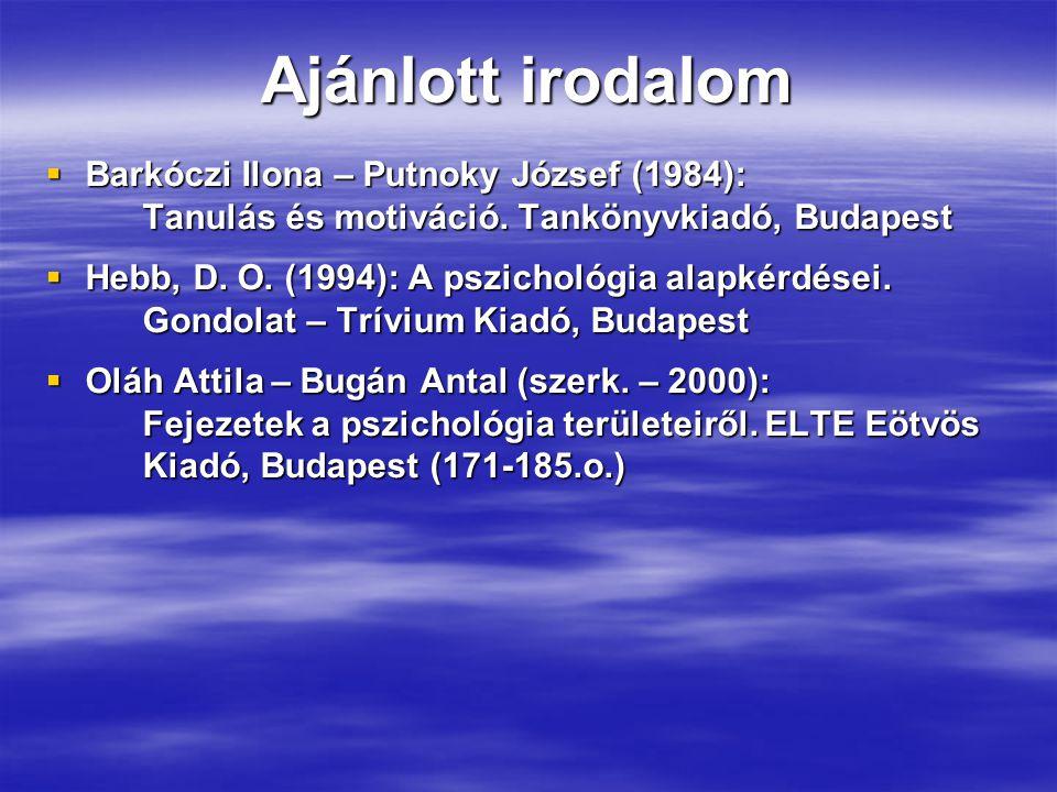 Ajánlott irodalom  Barkóczi Ilona – Putnoky József (1984): Tanulás és motiváció.