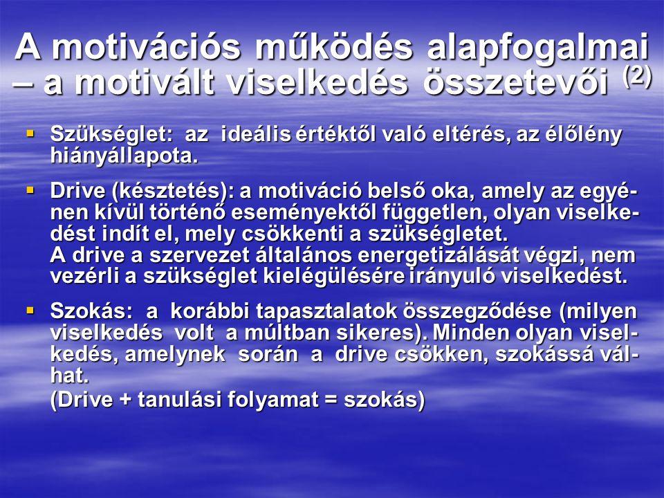 A motivációs működés alapfogalmai – a motivált viselkedés összetevői (2)  Szükséglet: az ideális értéktől való eltérés, az élőlény hiányállapota.