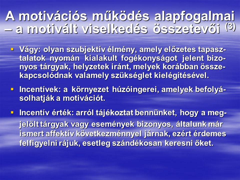 A motivációs működés alapfogalmai – a motivált viselkedés összetevői (3)  Vágy: olyan szubjektív élmény, amely előzetes tapasz- talatok nyomán kialakult fogékonyságot jelent bizo- nyos tárgyak, helyzetek iránt, melyek korábban össze- kapcsolódnak valamely szükséglet kielégítésével.