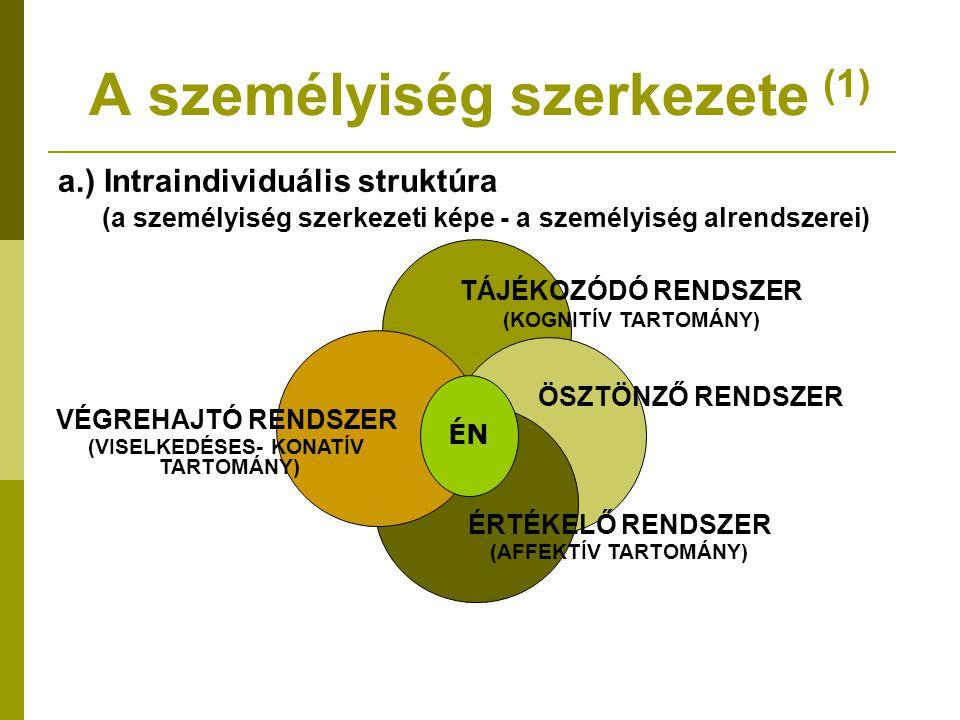 A személyiség szerkezete (1) a.) Intraindividuális struktúra (a személyiség szerkezeti képe - a személyiség alrendszerei) ÉN TÁJÉKOZÓDÓ RENDSZER (KOGN