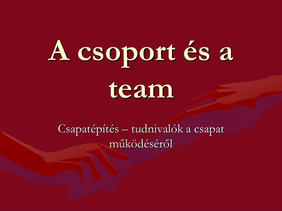 A csoport és a team Csapatépítés – tudnivalók a csapat működéséről