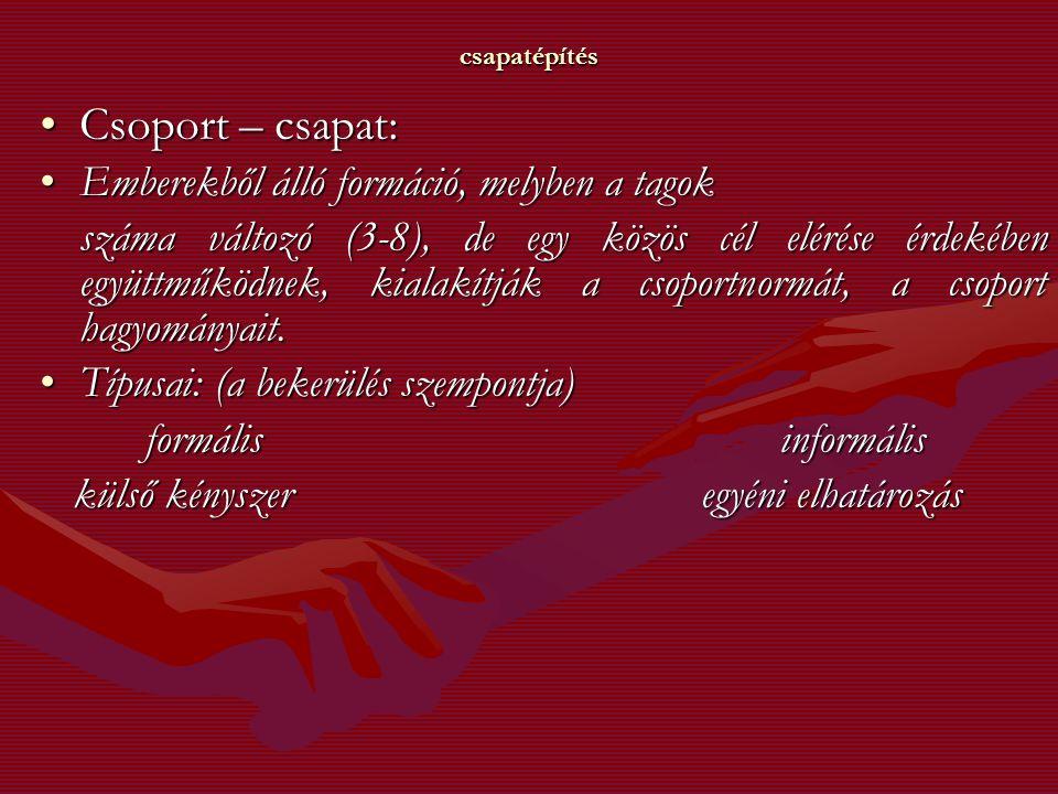 csapatépítés Csoport – csapat:Csoport – csapat: Emberekből álló formáció, melyben a tagokEmberekből álló formáció, melyben a tagok száma változó (3-8)